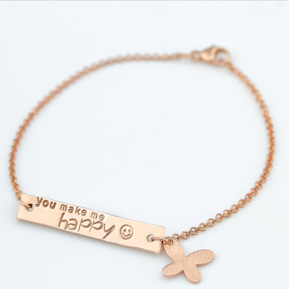 Rosegold Plättchen Armband mit Schmetterling
