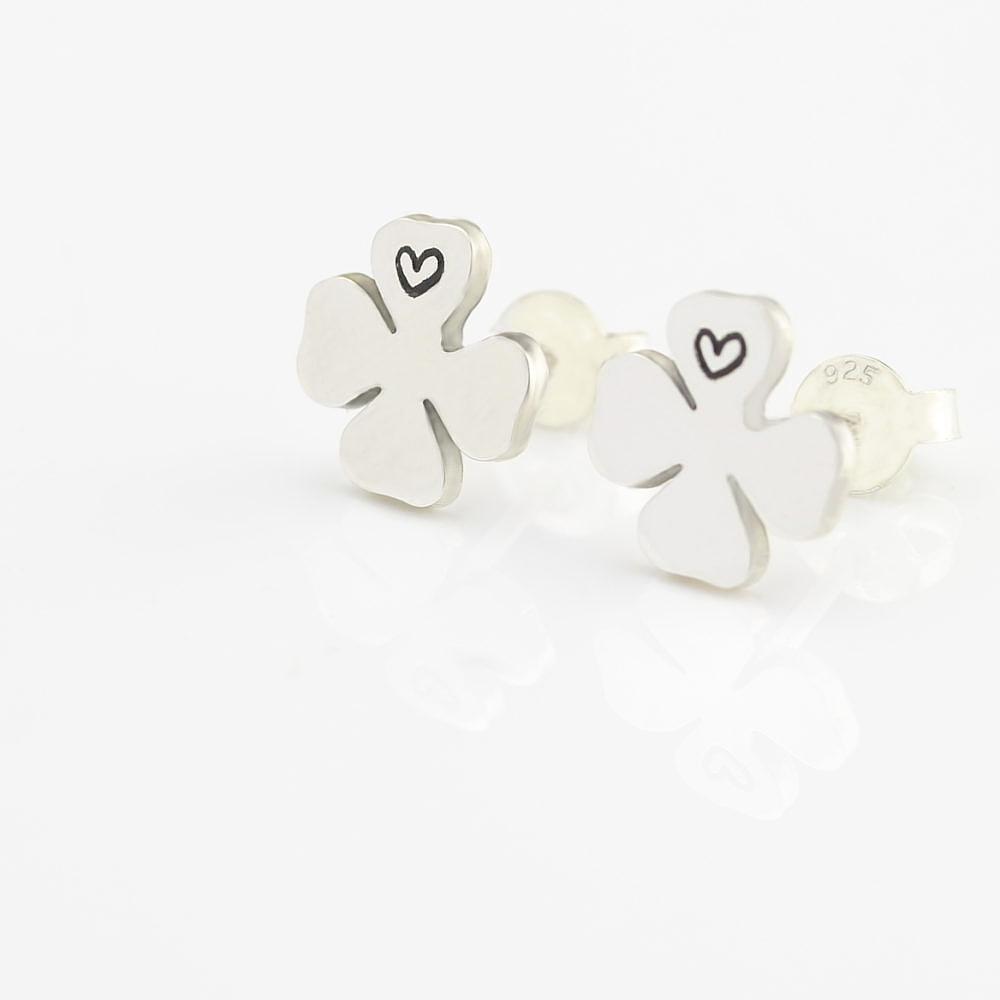 Glückskleeblatt Ohrringe mit Herz